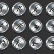 Sport Athletes Icons on Metal Internet Buttons - Stock Vector