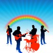 Music band on rainbow internet background — Stock Vector