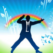 Excited businessman jumping on rainbow background — Векторная иллюстрация