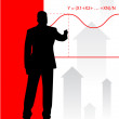 Businessman on background with financial equation - Stok Vektr