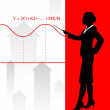 Business woman on background with financial equation - Stockvectorbeeld