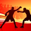 Boxing on abstract red background - Stock Vector