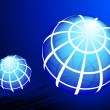 Globes on blue background — Vektorgrafik