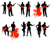 Music group with singers and instruments on white background — Stock Vector
