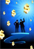 Werkzaamheden van winsten achtergrond met twee — Stockvector