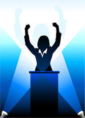 Business-political speaker silhouette behind a podium — Stock Vector