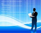 Computer programmer on blue wave internet background — Stock Vector