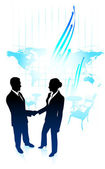 Businessman and businesswoman shaking hand on internet map backg — Stock Vector