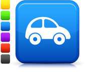 Car icon on square internet button — Stock Vector