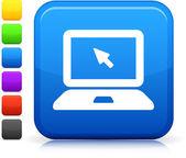 Ikona komputera laptopa na placu internet przycisk — Wektor stockowy