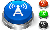 Radio Tower Icon on Internet Button — Stock Vector