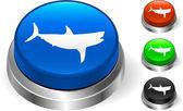 Shark icn on internet button — Stock Vector