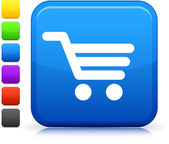 Shopping Einkaufswagen-Symbol Quadrat Internet-Button — Stockvektor