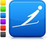 Schansspringen pictogram op vierkante internet knop — Stockvector