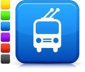 Filobus icona sul pulsante quadrato di internet — Vettoriale Stock