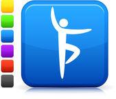 Yoga icon on square internet button — Stock Vector