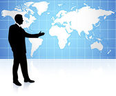 Young business man pointing on world map background — Stock Vector