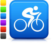 Cycling icon on square internet button — Stock Vector