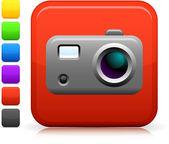 Fotografia ikona aparatu fotograficznego na placu internet przycisk — Wektor stockowy