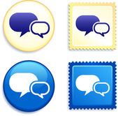 Internet Chat Stamp and Button — Stock Vector