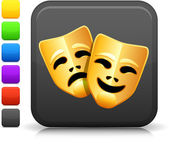 Comedy and tragedy masks icon on square internet button — Stock Vector