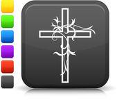 Cross icon on square internet button — Stock Vector