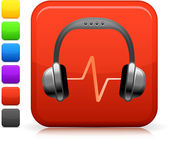 Audio-kopfhörer-symbol quadrat internet-button — Stockvektor