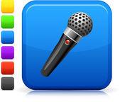 Icono de micrófono botón cuadrado de internet — Vector de stock