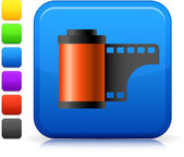 Photo film icon on square internet button — Stock Vector