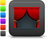 Theater stage icon on square internet button — Stock Vector