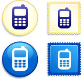 Cell Phone on Stamp and Button — Stock Vector