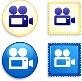 Video Camera on Stamp and Button — Stock Vector