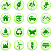 Green Environmental Buttons — Stock Vector