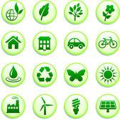 Green Environmental Buttons — Stock Vector