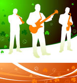 Live irish band on abstract celtic background — Stock Vector