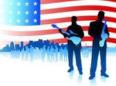 Zespół muzyczny na tle patriotycznych amerykańską flagę — Wektor stockowy