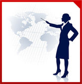 Young businesswoman pointing at world map — Stock Vector