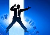 Excited businessman with business team on blue internet backgrou — Vecteur