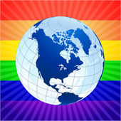 Globe with rainbow background for gay rights — Stock Vector