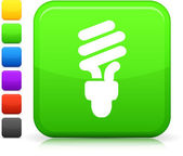 Green electric lightbulb icon on square internet button — Stock Vector
