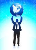Affärsman som håller världen bakgrunden — Stockvektor