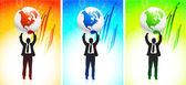 Business man holding globe on vibrant background — Stock Vector