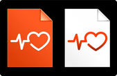 Heart Pulse on Paper Set — Stock Vector