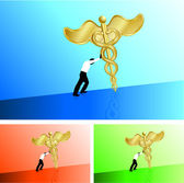 Business man pushing medical caduceus uphill — Stock Vector