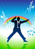Excited businessman jumping on rainbow background — Vector de stock