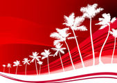 Palm trees on abstract red background — Stock Vector