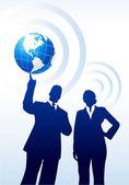 Businessman holding the globe — Stock Vector
