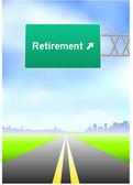 Retirement Highway Sign — Stock Vector