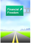 Financial Freedom Highway Sign — Stock Vector