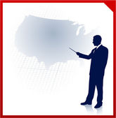 Businessman presenting United States of Amrica map — Stock Vector